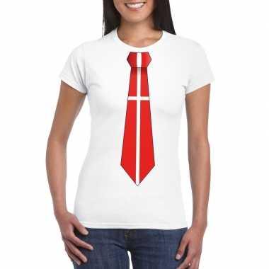 Shirt met denemarken stropdas wit dames