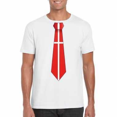 Shirt met denemarken stropdas wit heren