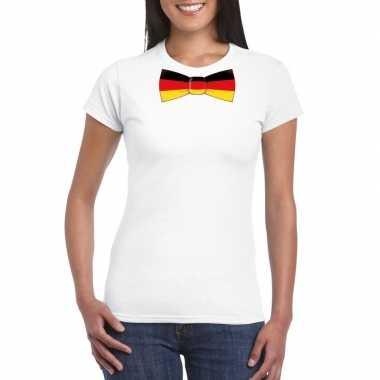 Shirt met duitsland strikje wit dames