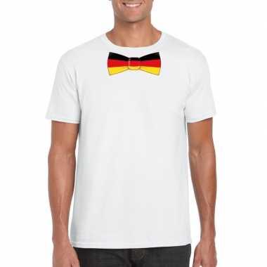 Shirt met duitsland strikje wit heren