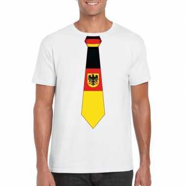 Shirt met duitsland stropdas wit heren