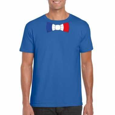 Shirt met frankrijk strikje blauw heren