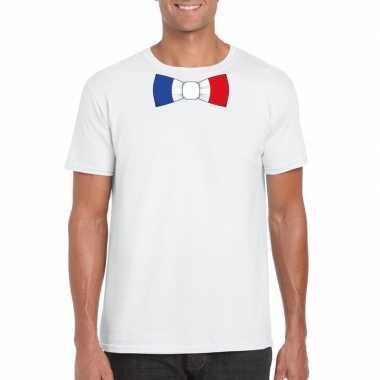 Shirt met frankrijk strikje wit heren