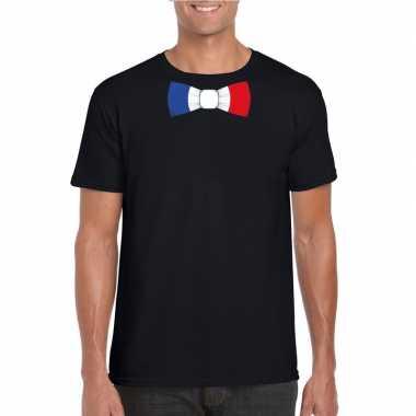 Shirt met frankrijk strikje zwart heren
