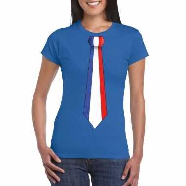 Shirt met frankrijk stropdas blauw dames