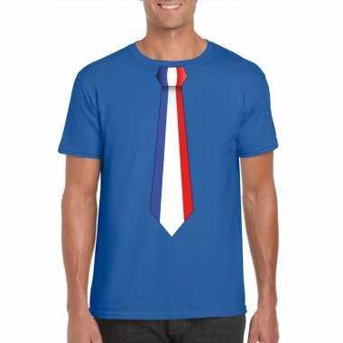 Shirt met frankrijk stropdas blauw heren