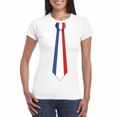 Shirt met frankrijk stropdas wit dames