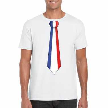 Shirt met frankrijk stropdas wit heren