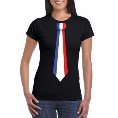 Shirt met frankrijk stropdas zwart dames
