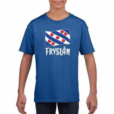 Shirt met friese vlag blauw voor kinderen