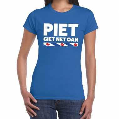Shirt met friesetekst piet giet net oan blauw dames
