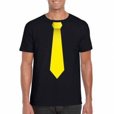 Shirt met gele stropdas zwart heren
