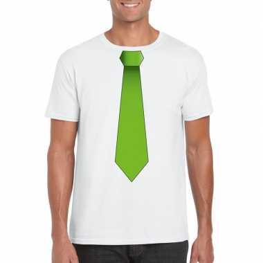Shirt met groene stropdas wit heren