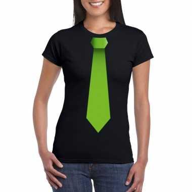 Shirt met groene stropdas zwart dames
