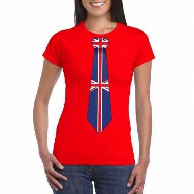 Shirt met groot brittannie stropdas rood dames
