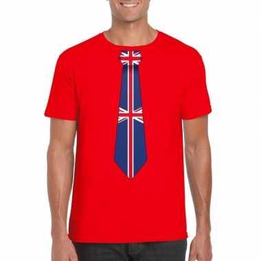 Shirt met groot brittannie stropdas rood heren