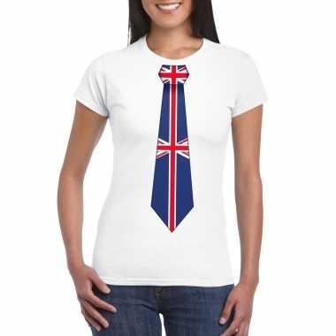 Shirt met groot brittannie stropdas wit dames