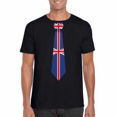 Shirt met groot brittannie stropdas zwart heren