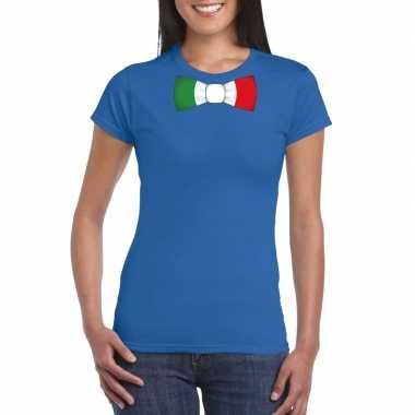 Shirt met italie strikje blauw dames