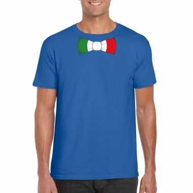 Shirt met italie strikje blauw heren