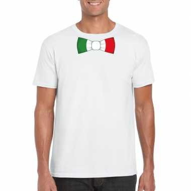 Shirt met italie strikje wit heren