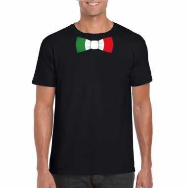 Shirt met italie strikje zwart heren