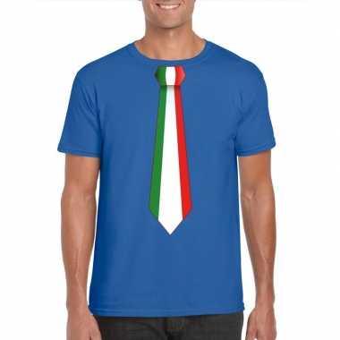 Shirt met italie stropdas blauw heren
