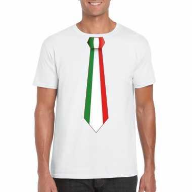 Shirt met italie stropdas wit heren