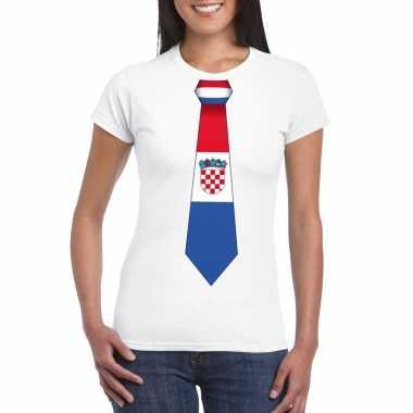 Shirt met kroatie stropdas wit dames