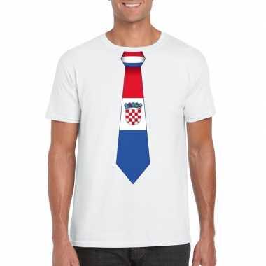 Shirt met kroatie stropdas wit heren