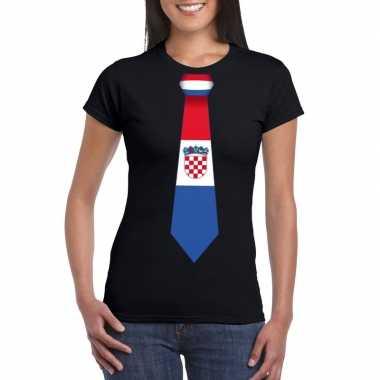 Shirt met kroatie stropdas zwart dames