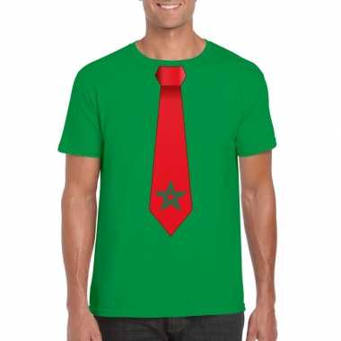 Shirt met marokko stropdas groen heren