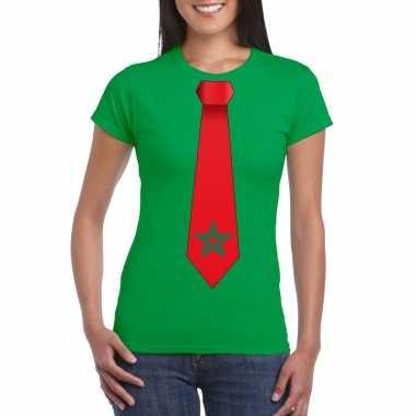 Shirt met marrokko stropdas groen dames