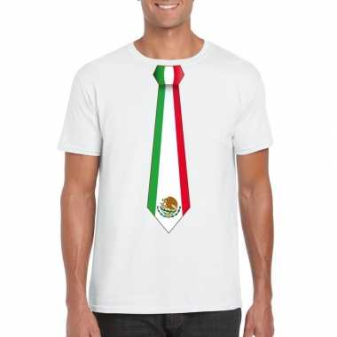 Shirt met mexico stropdas wit heren