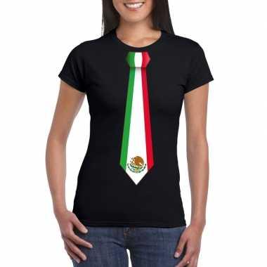 Shirt met mexico stropdas zwart dames