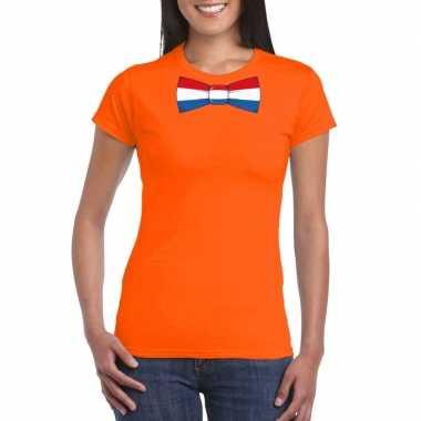Shirt met nederland strikje oranje dames