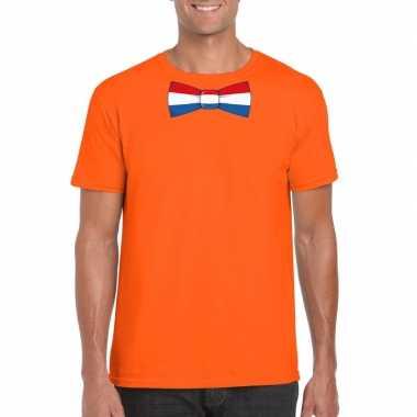 Shirt met nederland strikje oranje heren