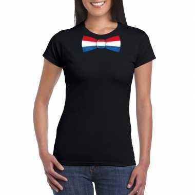 Shirt met nederland strikje zwart dames