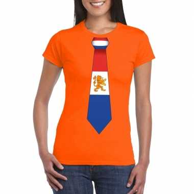 Shirt met nederland stropdas oranje dames