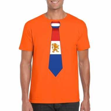 Shirt met nederland stropdas oranje heren