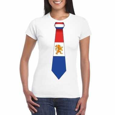 Shirt met nederland stropdas wit dames