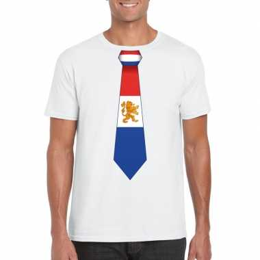 Shirt met nederland stropdas wit heren