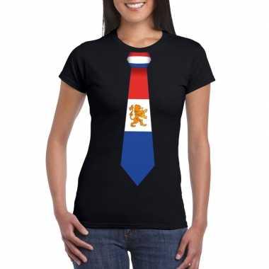 Shirt met nederland stropdas zwart dames