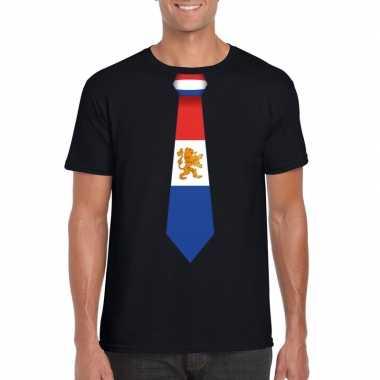 Shirt met nederland stropdas zwart heren