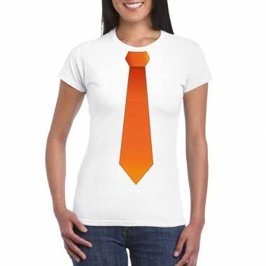 Shirt met oranje stropdas wit dames