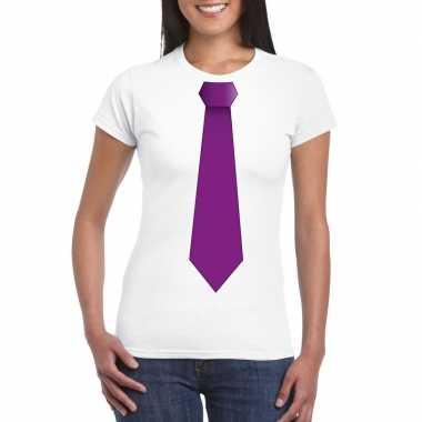 Shirt met paarse stropdas wit dames