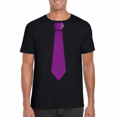Shirt met paarse stropdas zwart heren