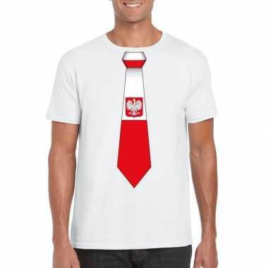 Shirt met polen stropdas wit heren