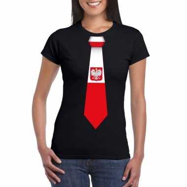Shirt met polen stropdas zwart dames