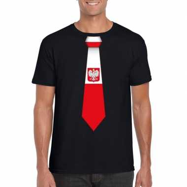 Shirt met polen stropdas zwart heren